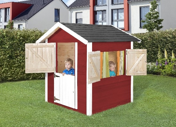 garten weka kinderspielhaus 818 rot weiss 21 mm inkl fensterl den. Black Bedroom Furniture Sets. Home Design Ideas